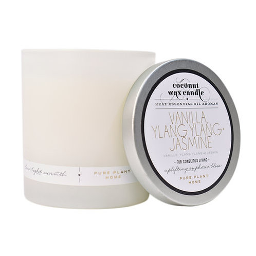 Coconut Wax Candle Frosted Glass Jar, 8.1 ounces