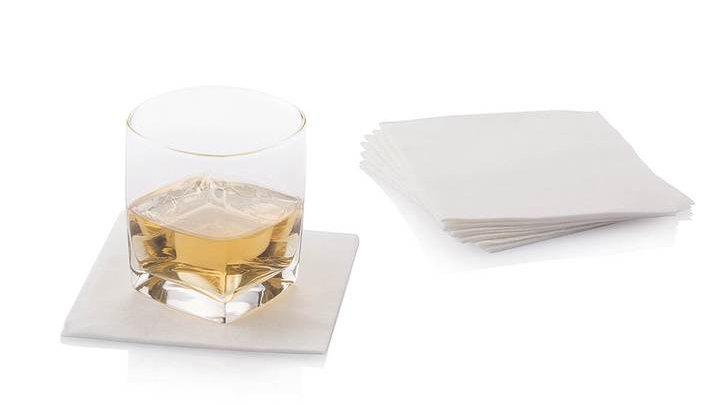 White Luxury Bamboo Cocktail Napkins