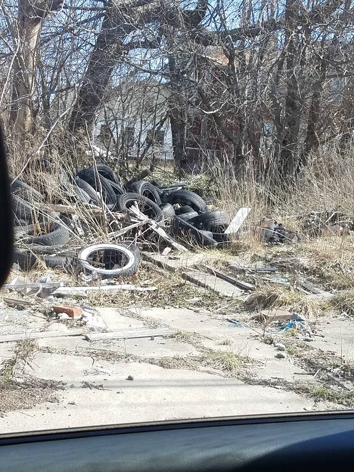 Illegally dumped tires