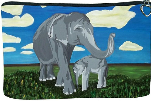 'Gentle Giants' Elephant Cosmetic Bag