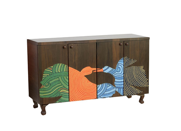 Hand Painted Gond Birds Cabinet