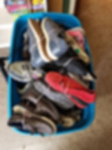 Completed Bin of shoes ready to go to th