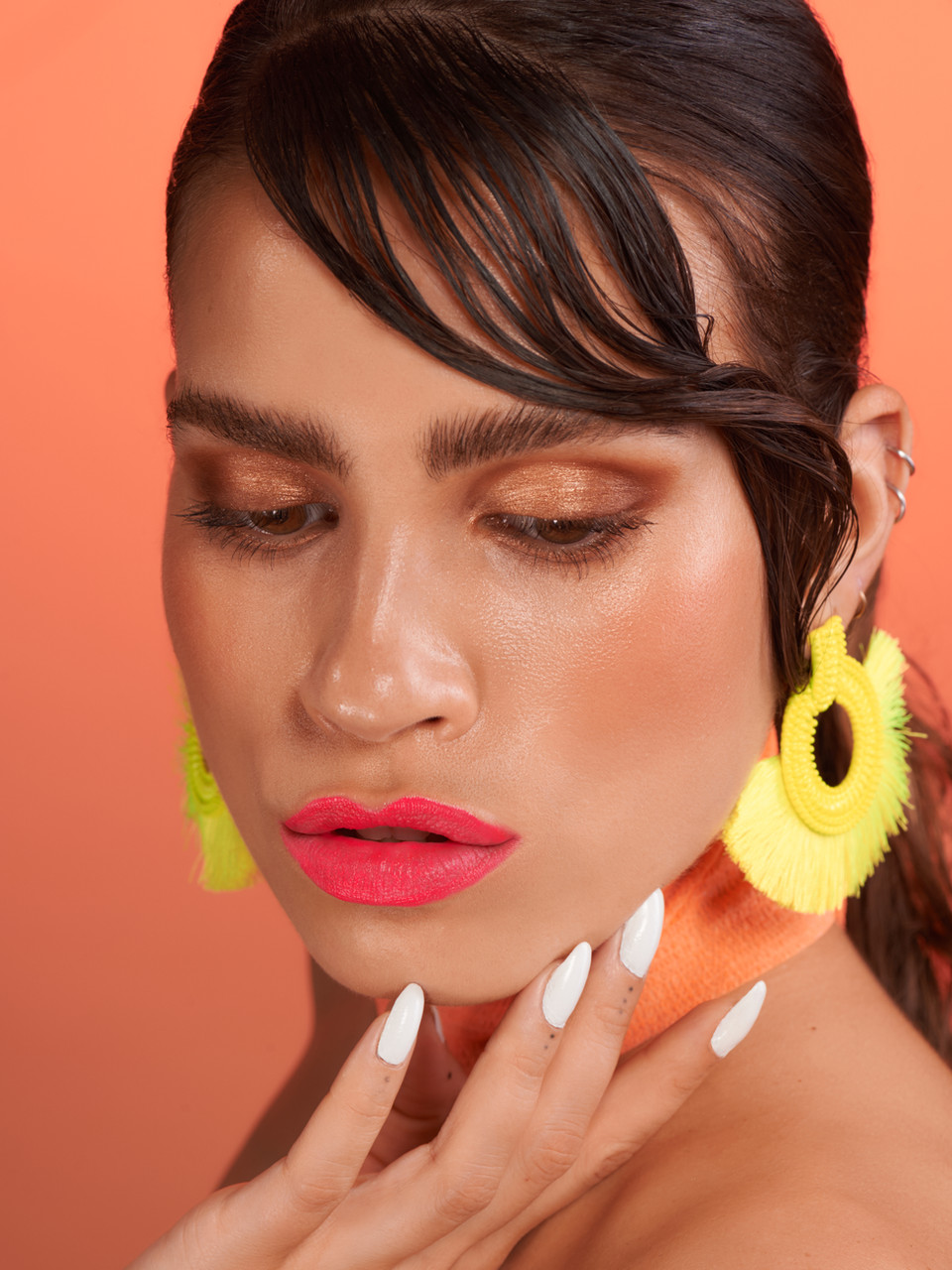 caitlin wyman editorial beauty neon lips