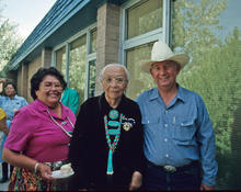 Irma Bluehouse, daughter of Dr. Annie Wauneka in the middle, with Doc McNeal in Window Rock, Arizona (1984).