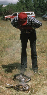 Goldtooth Begay with the Navajo Sheep Project and blessing of the sheep flock before turning out on the grazing land at the base of sacred Dibe'ntsa' (Big Sheep) in the spring of 1995.