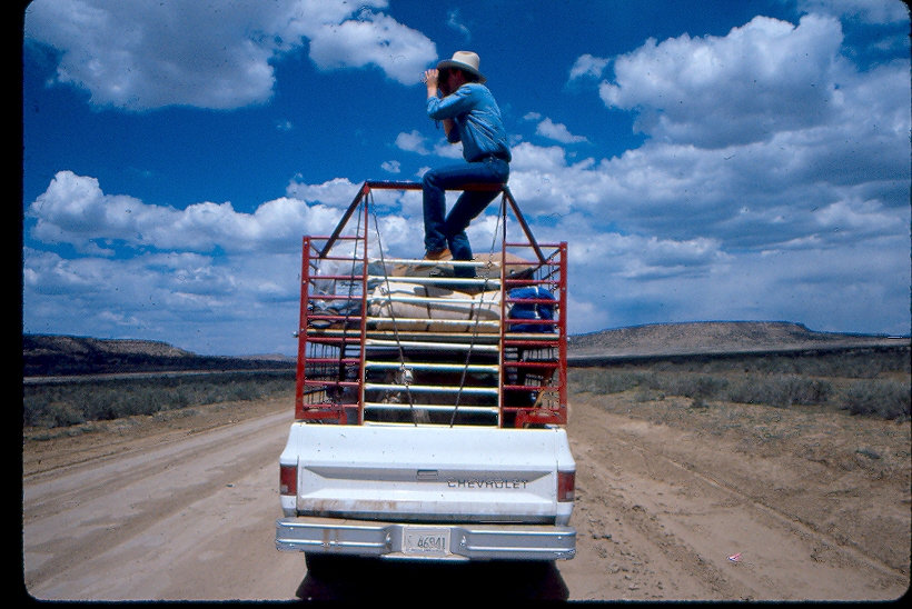 Dr. Lyle McNEal, Navajo Sheep Project, looking for lost sheep
