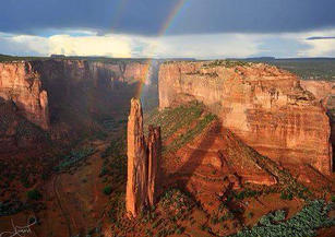 Spider Rock where the weaving spirit was given to the Diné.