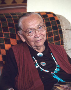 Dr. Annie Dodge Wauneka at her home at Klagetoh, Arizona during a visit with Doc McNeal in 1993.