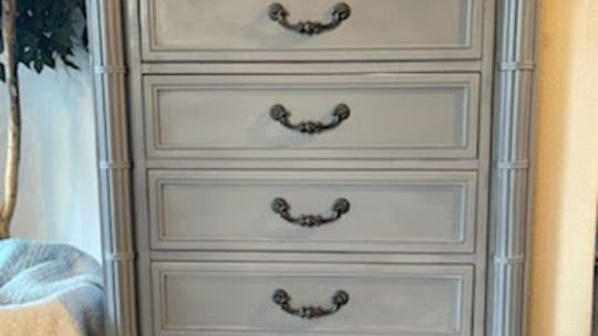 Hand Painted Tall Ornate Chest of Drawers