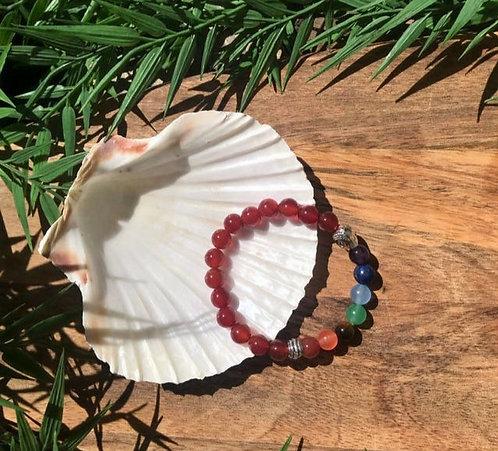 Bracelet Agate Rouge et Cristal de Roche