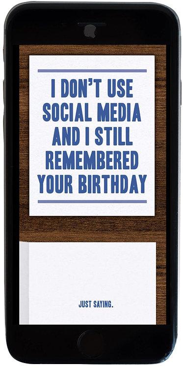 No Social Media Birthday