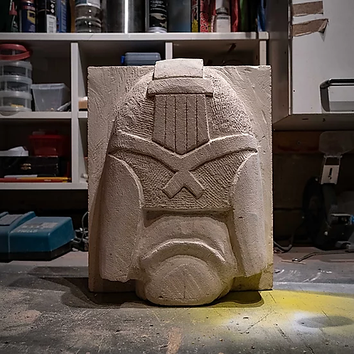 Judge Dredd ( hand carved limestone)