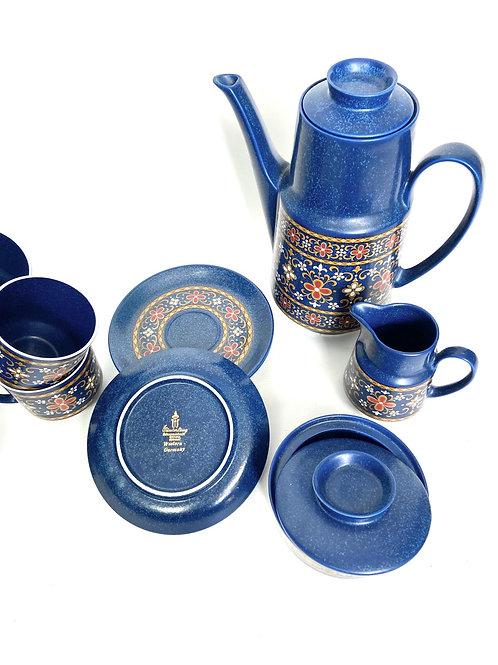 Winterling Schwarzenbach Bavaria Germany blue folk style coffee set.