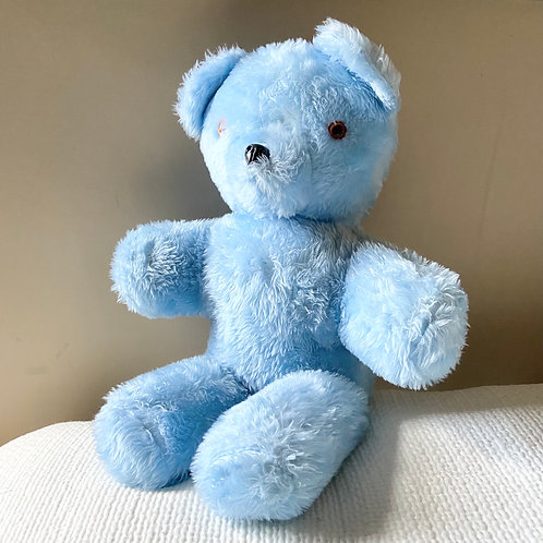 1950s vintage teddy bear. Cuddly blue teddy filled with hay. 24�۝
