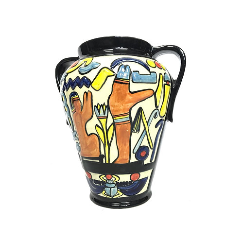 Charlotte Rhead big two handle pot vase for Crown Duca. Art Deco vase.