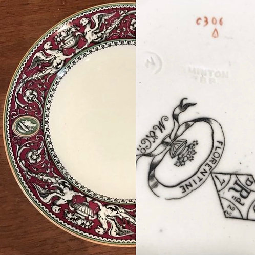 Antique Minton Florentine Griffins Urns and Cameo dinner plate