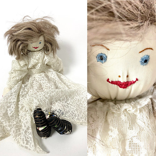 1950s creepy rag big fabric doll in a lace dress and pantaloons