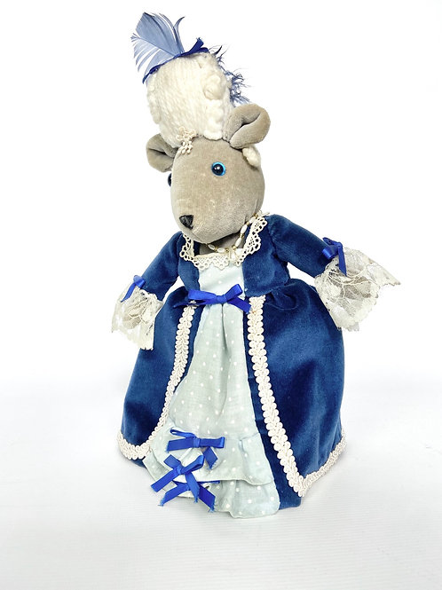 Vintage hand made mouse soft toy in Baroque French court outfit.