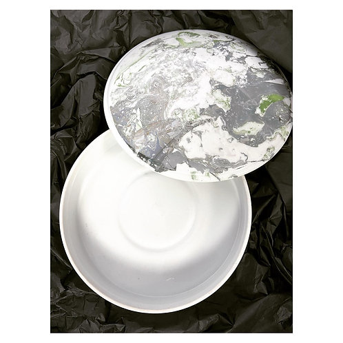 Royal Limoges France round marble effect porcelain dish bowl with a lid.