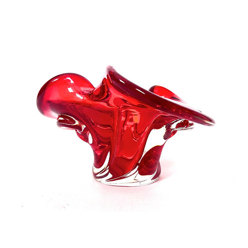 70s vintage red art glass candle holder Murano style