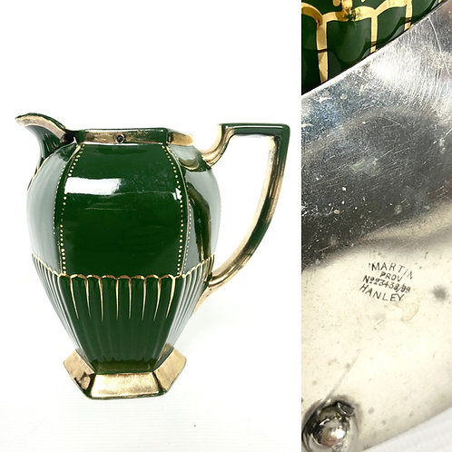 Green and gold Art Deco water jug pewter lid Martin Hanley Prov No. 23438/99