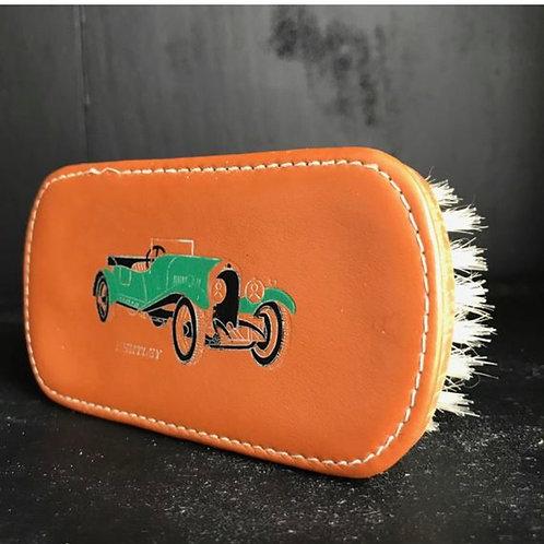 Retro style leather hand brush with BENTLEY car. Coat brush. Gentleman's gift.