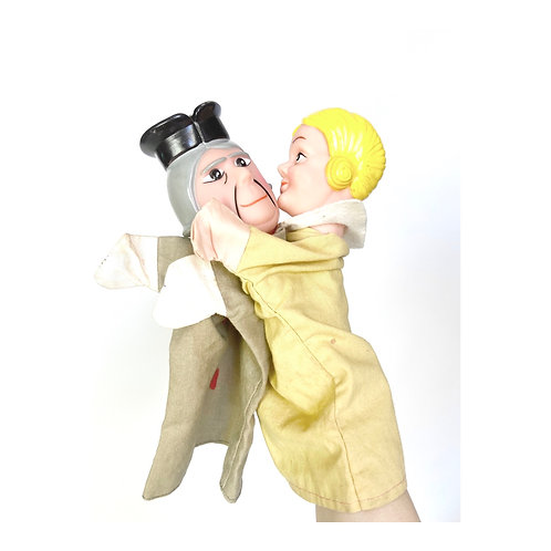 1970's vintage hand puppet theatre dolls. Punch and Judy style puppets.
