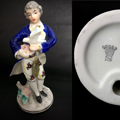 """60s/70s Saxony porcelain figurine of noble young man holding a dove 6"""" romantic"""
