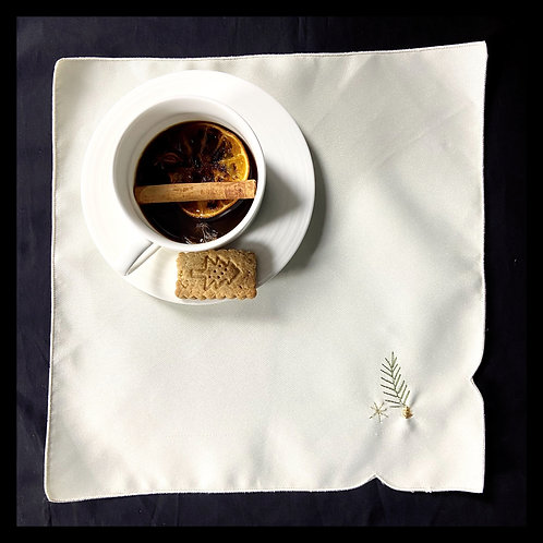 Satin wool table square napkins embroidered with festive detail