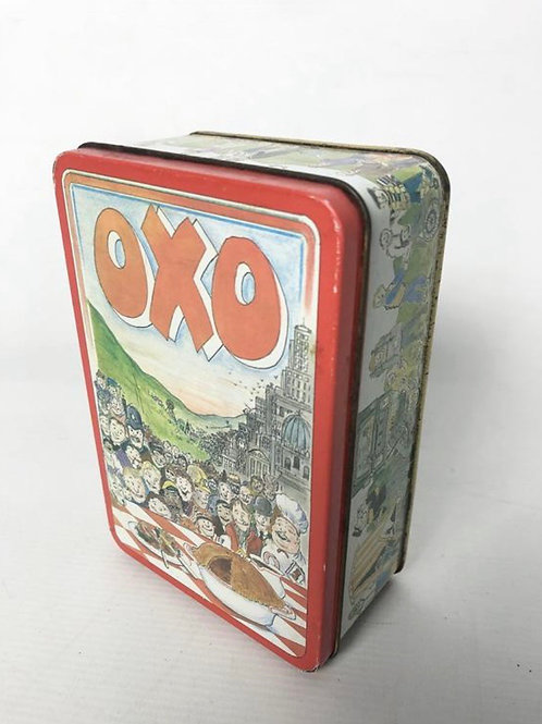 Collectable vintage OXO 48 cube tin with an image of Christmas.