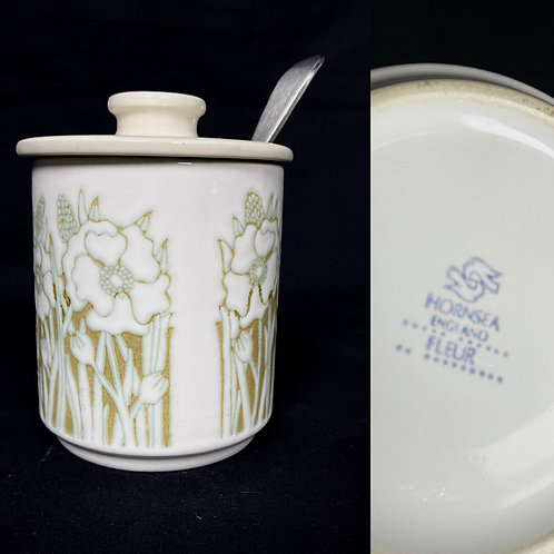 70s Hornsey Fleur lidded sugar bowl with a green floral pattern British pottery