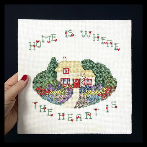 Home is where the heart is' cross stitch rectangular picture