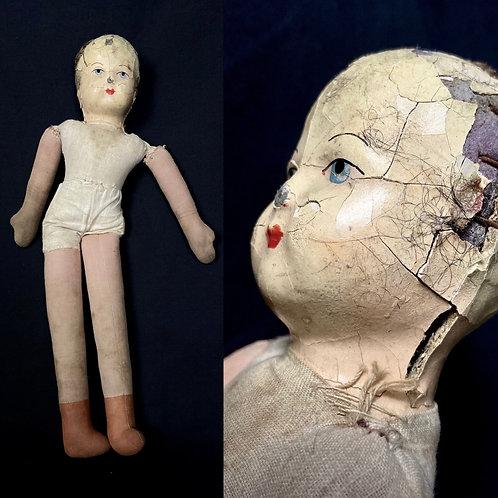 Rare antique tor vintage fabric rag doll