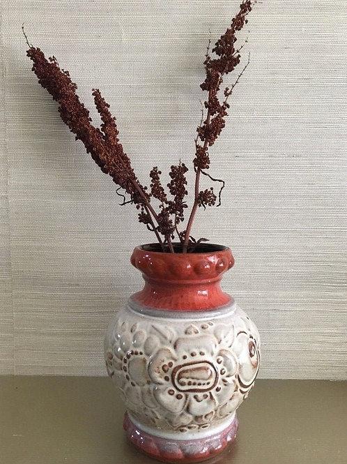 Red Brown Beige Authentic West German Scheurich (?) Keramik Vase