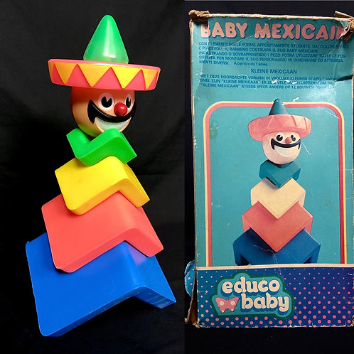 Vintage Baby Mexicain Mexican stacking blocks. Sombrero Sam. Educo Baby France