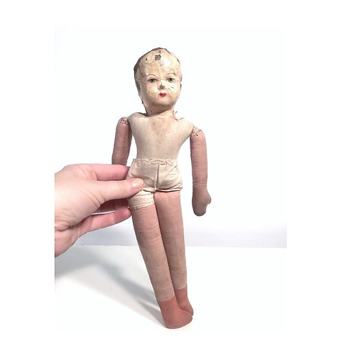 Rare antique  vintage fabric rag doll. Paper mache hard head. Creepy doll.
