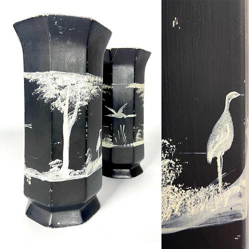 Pair of Brentleigh Ware hexagonal black vases with cranes.