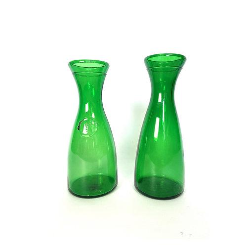 2 vintage mid-century Italian decanters green glass BRF Bormioli Rocco Figlio