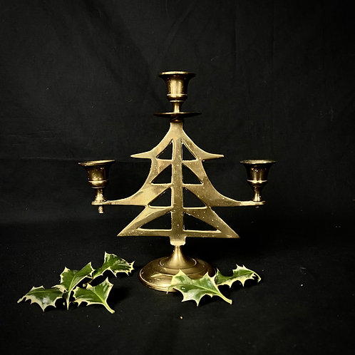 Gold colour brass tree shaped candelabra
