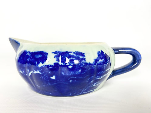 Victoria Ware Ironstone low pitcher or saucer dish blue gravy boat