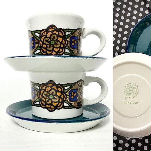 2 vintage New London cups with Royal Tudorware teal plates