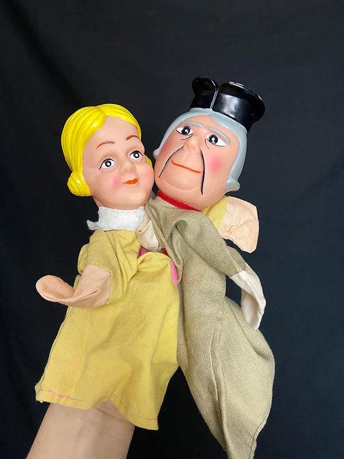 1970's vintage hand puppet theatre dolls