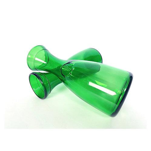 2 vintage mid-century Italian decanters green glass BRF Bormioli Rocco Figlio.