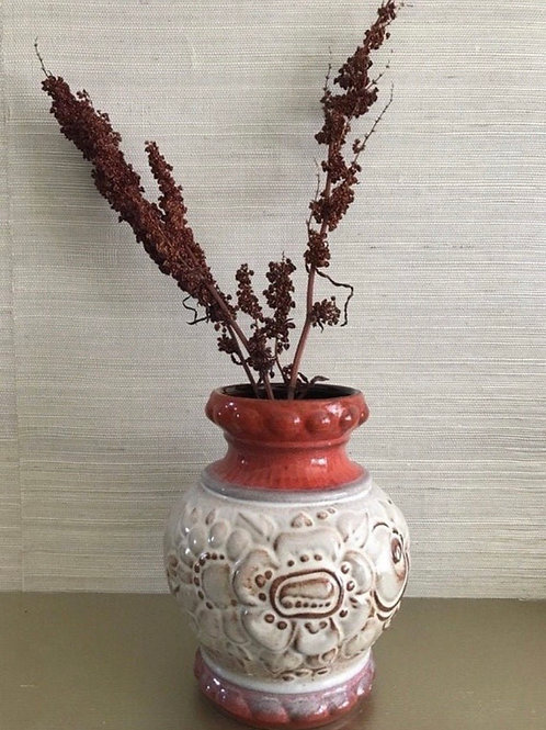 Red Brown Beige West German Pottery Vase. West German Scheurich (?) Keramik