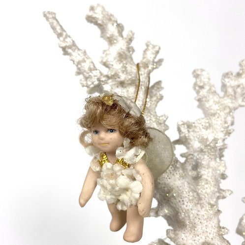 Christmas tree decoration ceramic angel doll with sheer wings