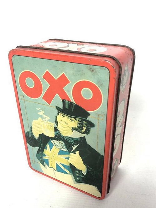 Collectable vintage OXO 48 cube tin with an image of English gentleman.