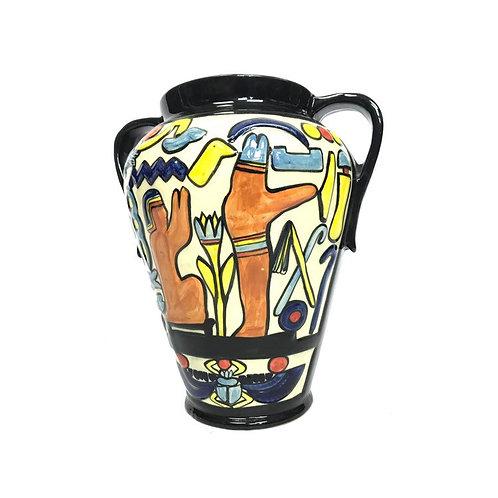 Charlotte Rhead big two handle colourful pot vase Crown Duca