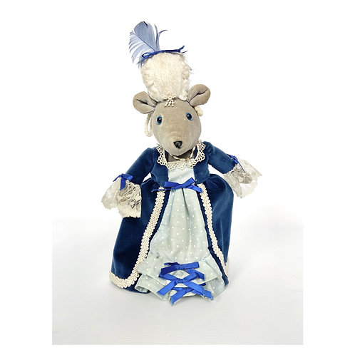 Baroque Victorian lady mouse. Soft toy mouse in French court outfit.