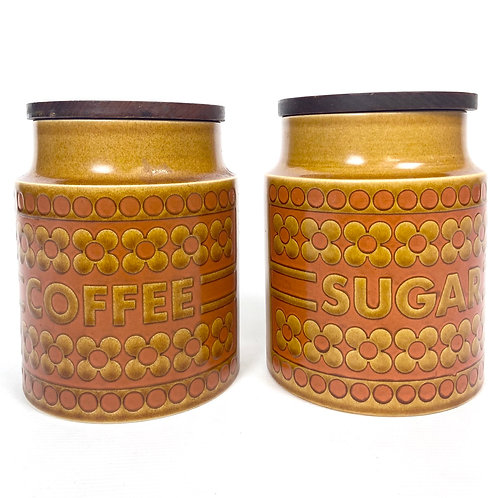1970s ceramic jars by Hornsea England from Saffron collection by John Clappison.