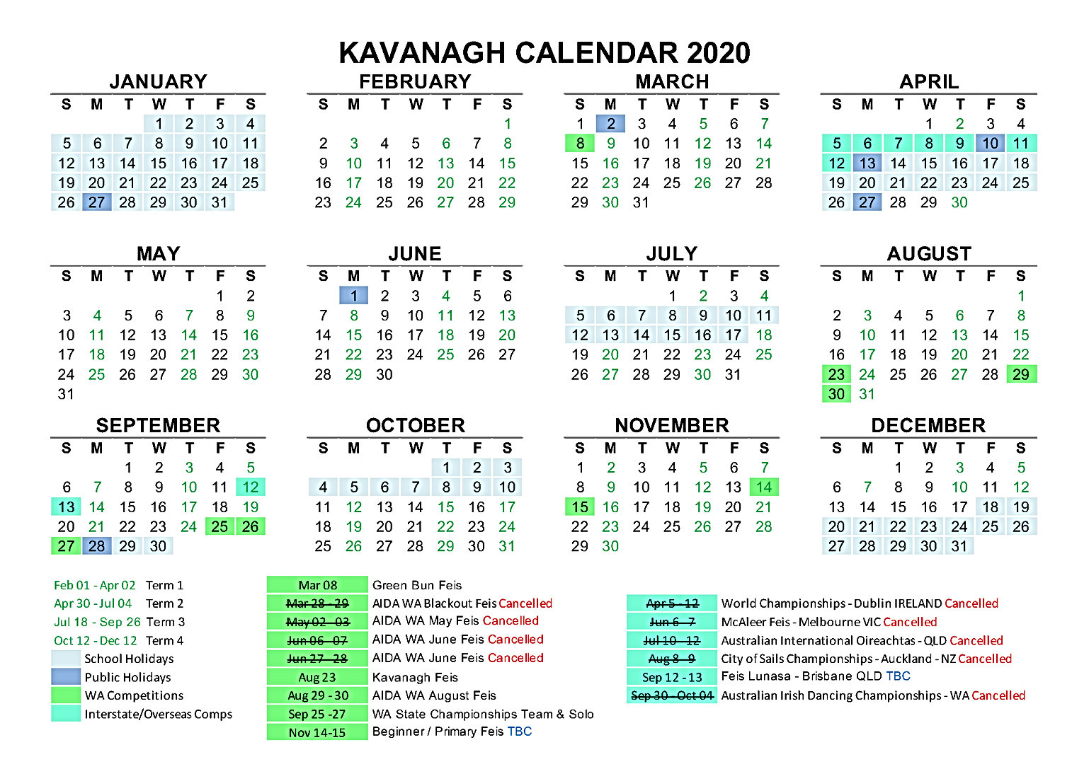 2020 Kavanagh Calendar Updated July 2020
